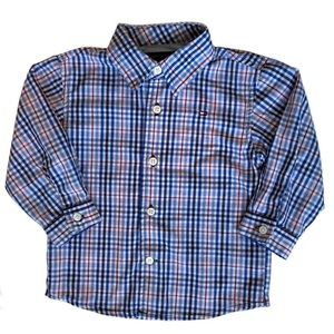 Boys Tommy Hilfiger Blue/Red Plaid Button Up
